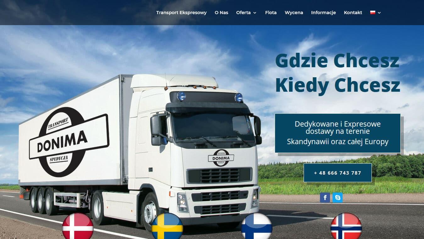 Strona internetowa firmy transportowej projekt Divi