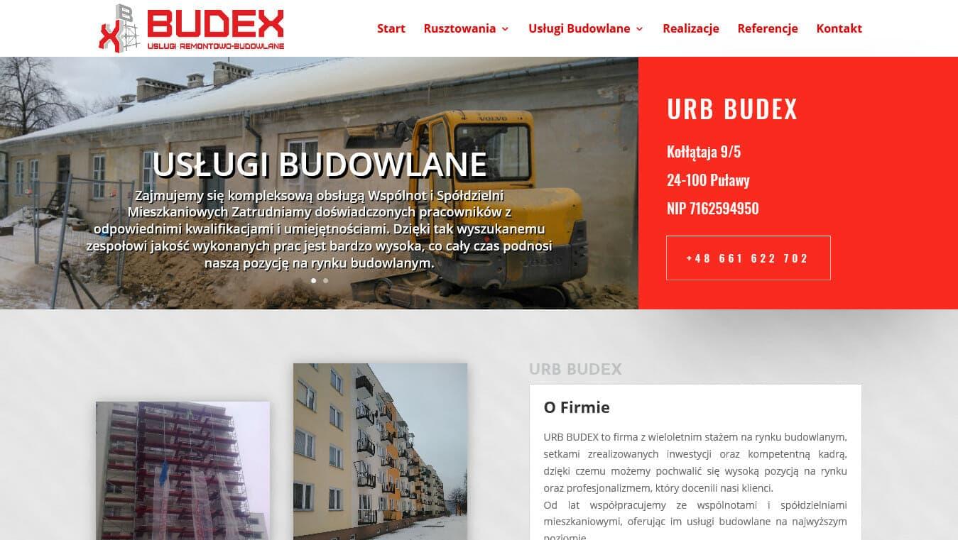 Strona firmy budowlanej URB BUDEX projekt Divi